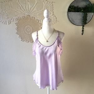Free People Intimately lavender crochet lace tank